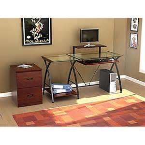z line designs brisa glass computer desk clear top staples 174