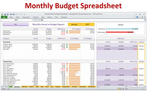 monthly budget spreadsheet  excel buyexceltemplatescom