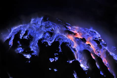 this indonesian volcano burns electric blue lava placeaholic