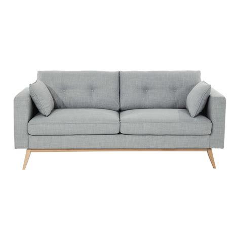 canapé 3 places en tissu gris clair maisons du monde