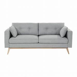 Canapé 3 places en tissu gris clair Brooke Maisons du Monde