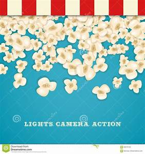 Heap Popcorn For Movie Lies On Blue Background. Stock ...