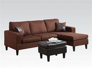 15900 robyn sectional sofa ottoman chocolate microfiber acme for Chocolate sectional sofa with ottoman
