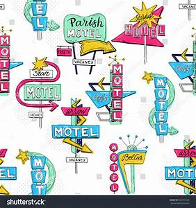 Vector Sketch Seamless Pattern Motel Sign Stock Vector ...