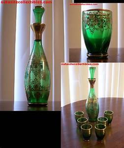 Murano Glass Decanter Vintage Emerald Green Gilt Trim