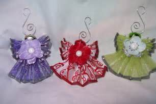 candy cake and crafts angels from ribbons