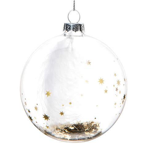 boule de noel transparente en verre  cm starry night