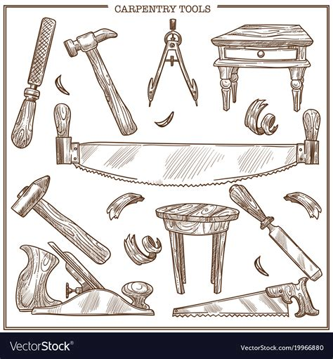 Carpentry Tools Sketch Icons Set For Royalty Free Vector