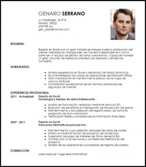 Cv Resume In Exles by Modelo Curriculum Vitae Experto En Excel Livecareer