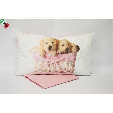 completo lenzuola cuccioli letto  piazza  mezza cagnolini nel cestino azzurro lbbiancheria
