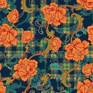 eclectic fabric plaid seamless pattern with baroque
