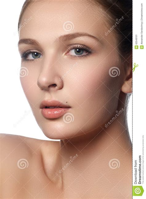 Beautiful Young Woman With Clean Fresh Skin Portrait Of