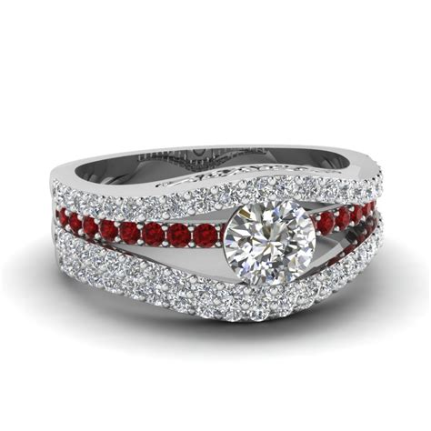 tension crossover wedding ring with ruby in 14k white gold fascinating diamonds