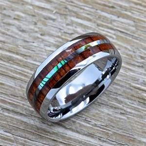 men39s tungsten ring with abalone inlay hawaiian koa wood With hawaiian mens wedding rings