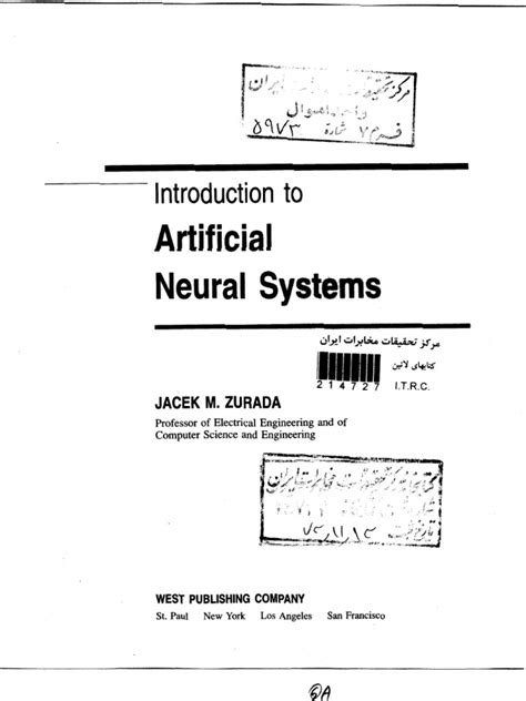 INTRODUCTION TO ARTIFICIAL NEURAL SYSTEMS BY JACEK M