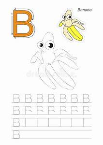 trace game for letter b the yellow banana stock vector With banana letter game