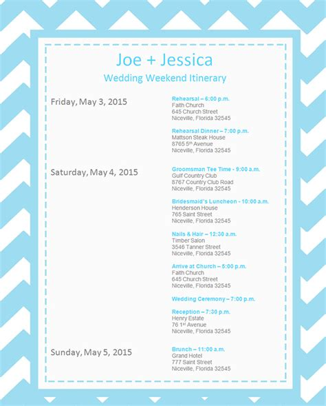 event itinerary template   psd