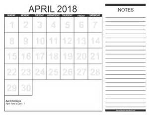 April 2018 Calendar Printable Free