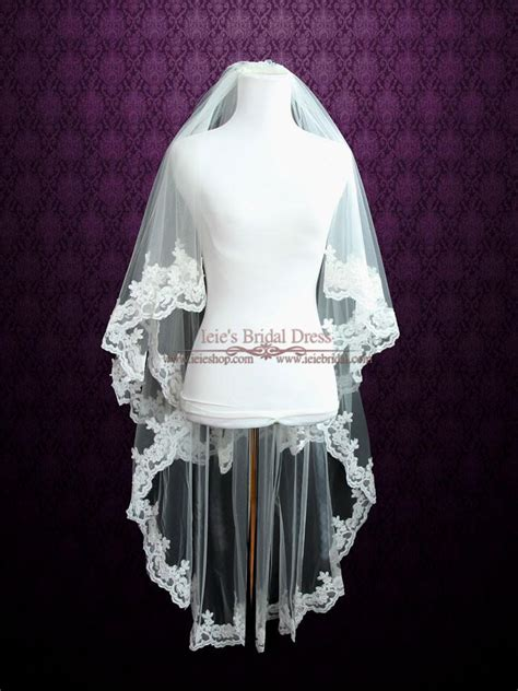 Two Tier Fingertip Length Lace Wedding Veil With Pearl