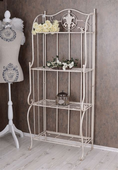 regal shabby chic metal regal white bathroom shelf shabby chic iron shelf standing shelf ebay