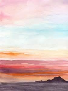 Watercolor Sunset Landscape Paintings