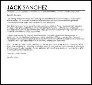 Cabinet Maker Cover Letter Sample Livecareer