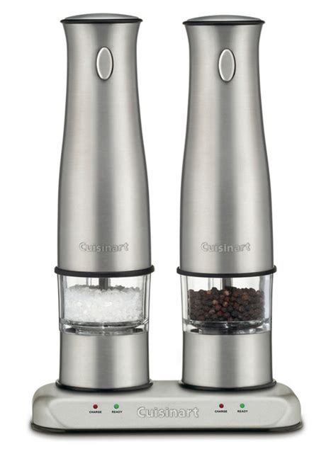 cuisinart stainless steel rechargeable electric salt pepper mill set cutlery