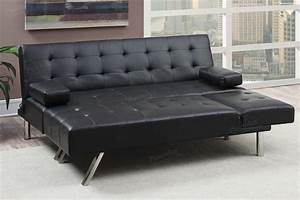 Poundex nit f7886 black leather sectional sofa bed steal for Black sectional sofa