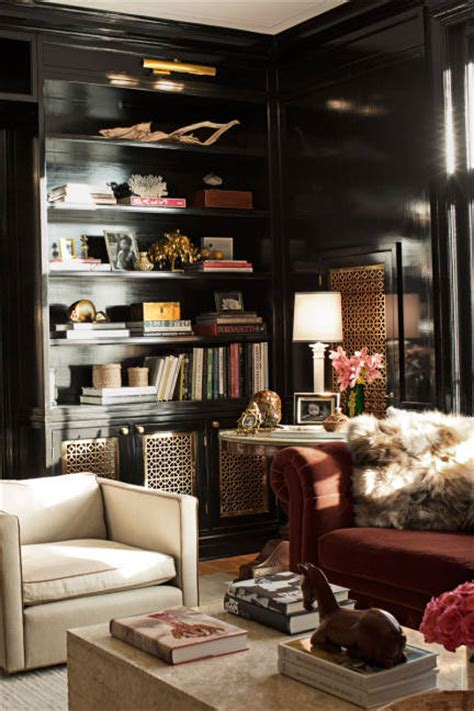 Glossy Black Built In Cabinets  Contemporary  Living Room