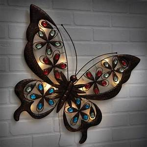 Powertek large solar butterfly wall art garden street