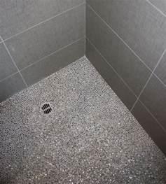 shower floor idea gray mosaic tile bath remodel pebble tile shower kitchen
