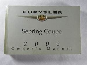 2002 Chrysler Sebring Coupe Owners Manual Guide Book