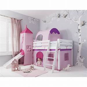 Cabin Bed with Slide Midsleeper Kids Pink with Tent ...