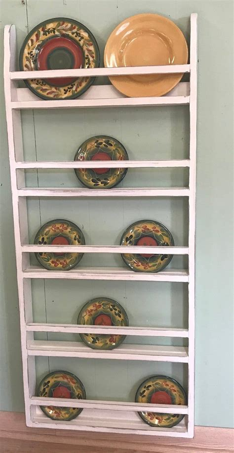 farmhouse plate rack wall hanging country rustic plate rack etsy   plate rack wall
