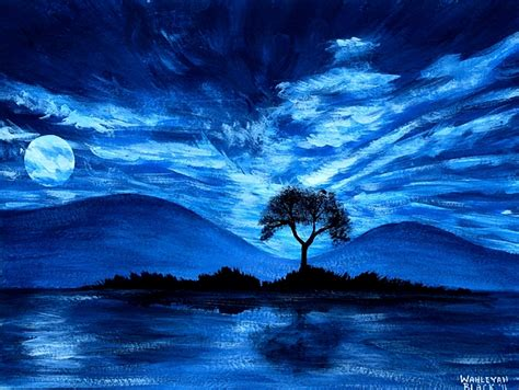 Blue Moon Painting By Wahleyah Black