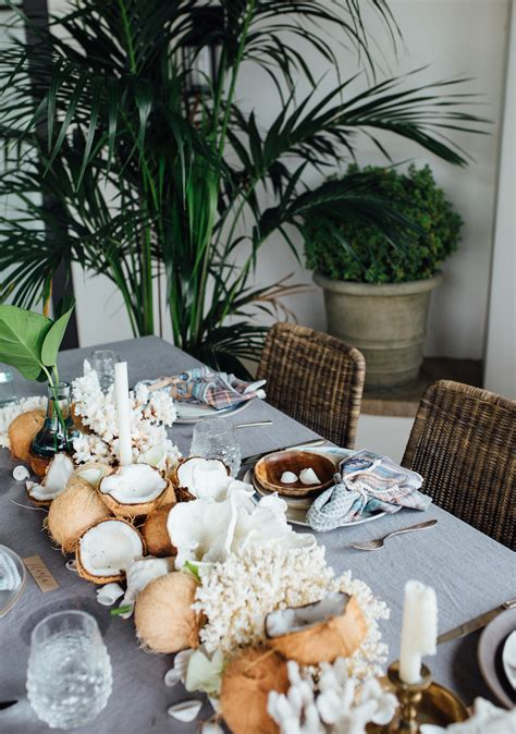 coconut table decorations   tropical themed