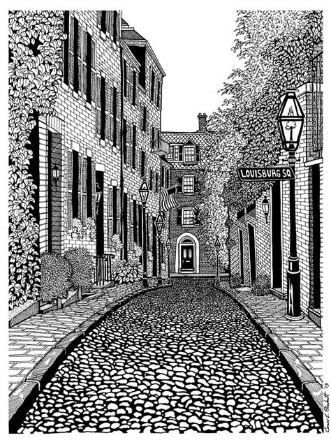 acorn street louisburg square drawing  conor plunkett