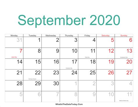 September 2020 Calendar Printable with Holidays ...