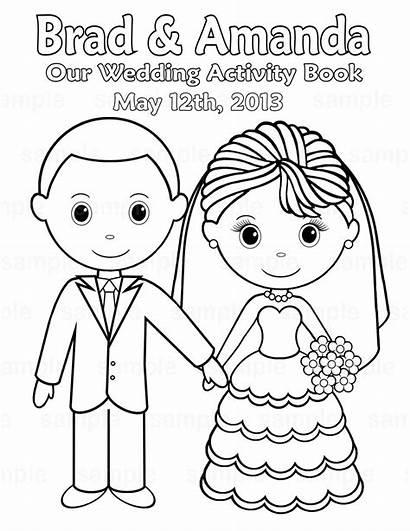 Coloring Printable Personalized Activity Bride Couple Pdf
