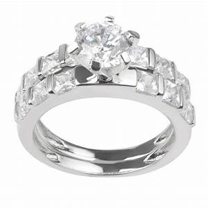 2 1 8 ct tw round cut cz prong set wedding ring set in With target wedding rings sets