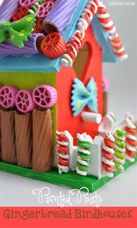pasta craft ideas painted pasta gingerbread birdhouse craft idea 2655