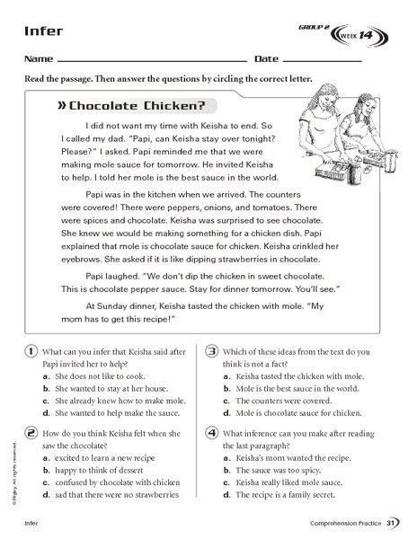 infer chocolate chicken   grade worksheet