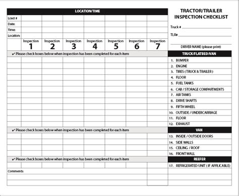 tractortrailer inspection form