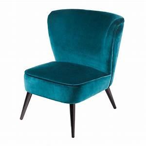 Fauteuil Velours Bleu : fauteuil en velours bleu p trole maisons du monde ~ Teatrodelosmanantiales.com Idées de Décoration