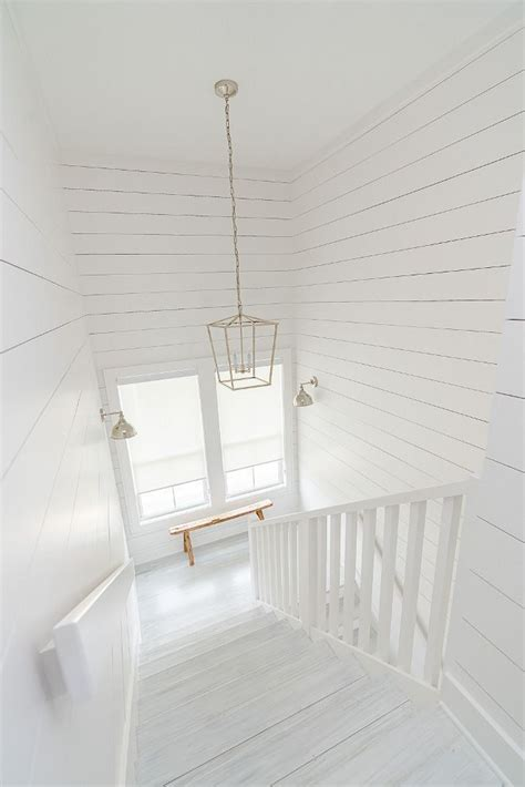 sherwin williams sw 7005 pure white shiplap and stair
