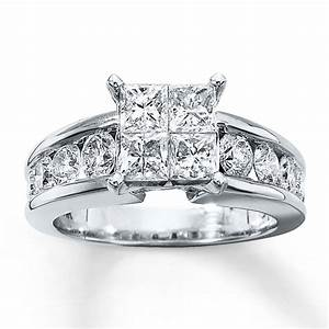Kay diamond engagement ring 2 1 2 ct tw 14k white gold for 2 ct wedding rings
