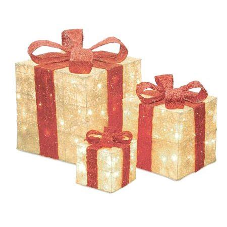 set of 3 lit gift boxes set of 3 sparkling sisal gift boxes lighted yard decorations walmart