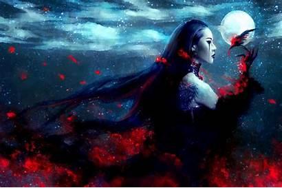 Fantasy Dark Eyes Nanfe Moon Artwork Woman
