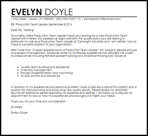 production team leader cover letter sample cover letter