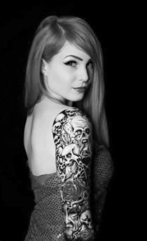 Girls sleeve tattoo #skulls | Tattoos | Pinterest | I will, The o'jays and Sleeve